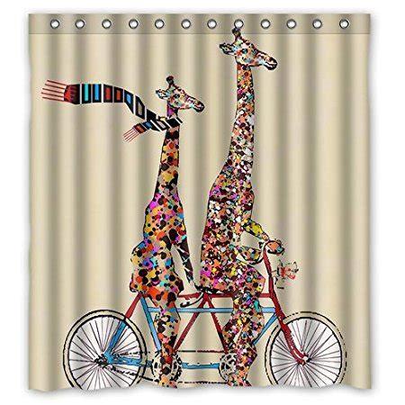 giraffe shower curtain bathroom shower curtains giraffe wear scarf ridding