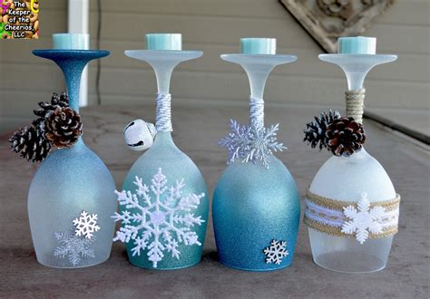 winter decorations diy winter wine glasses candle holders