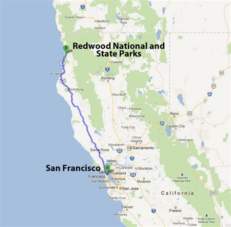 california map redwoods laure and quarup redwood national and state parks
