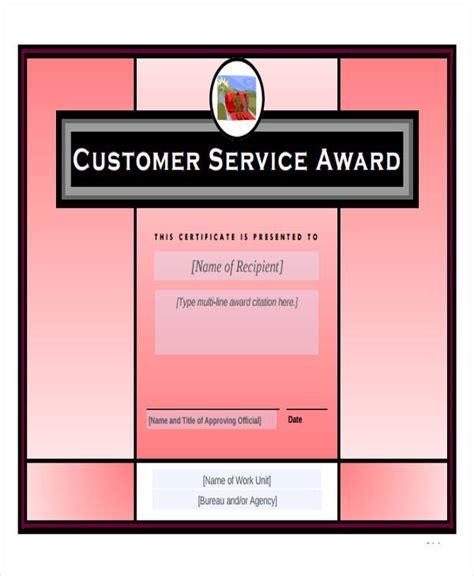 32 Printable Award Certificates Sle Templates Customer Service Award Template