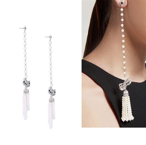 Earring Tassel Anting Fashion Import simulated pearls chain tassel earrings with bowknot fashion jewelry drop