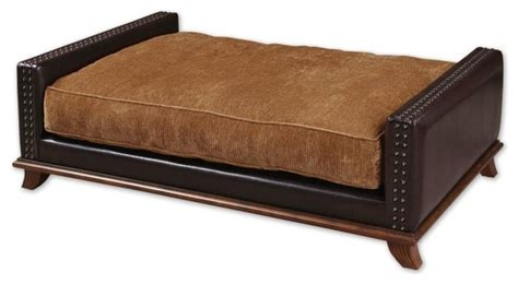 designer dog beds beau collection saddle brown faux leather plush designer pet bed contemporary dog