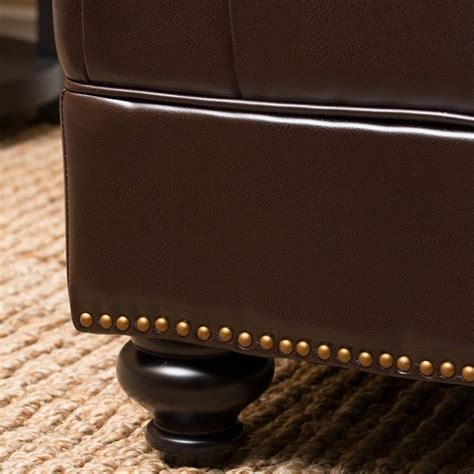 abbyson living oreana leather ottoman coffee table in