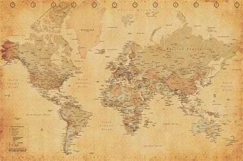 world map posters vintage world map poster pp31841