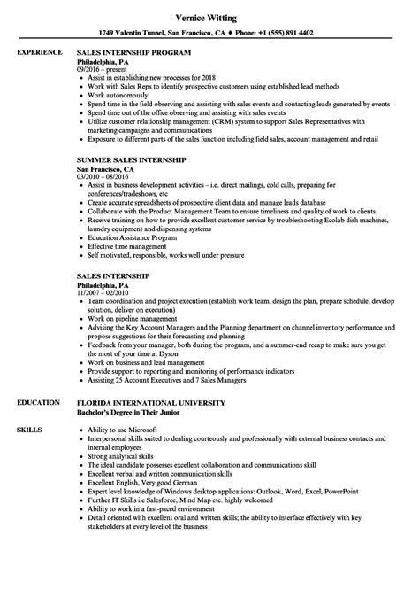 sle of resume for internship sales internship resume sles velvet