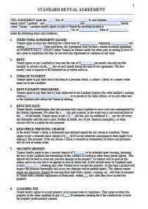 residential lease agreement template free printable