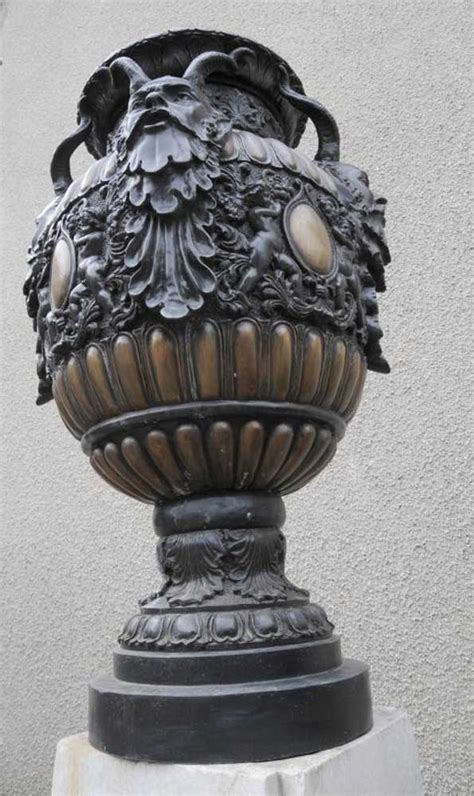italian bronze satyr planter garden urn