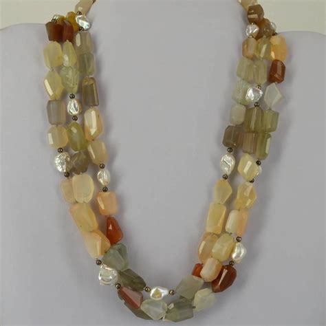 three strand multi color rainbow moonstone pearl silver