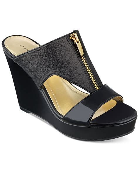 marc fisher winner platform wedge sandals in black lyst