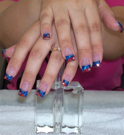 red acrylic 4th of july nils july 4th nails nails pinterest