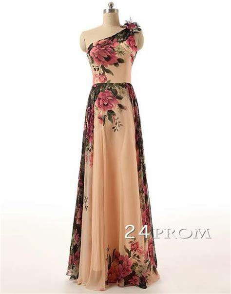 Jc Longdress V Back 132 floral one shoulder chiffon prom dress formal dress