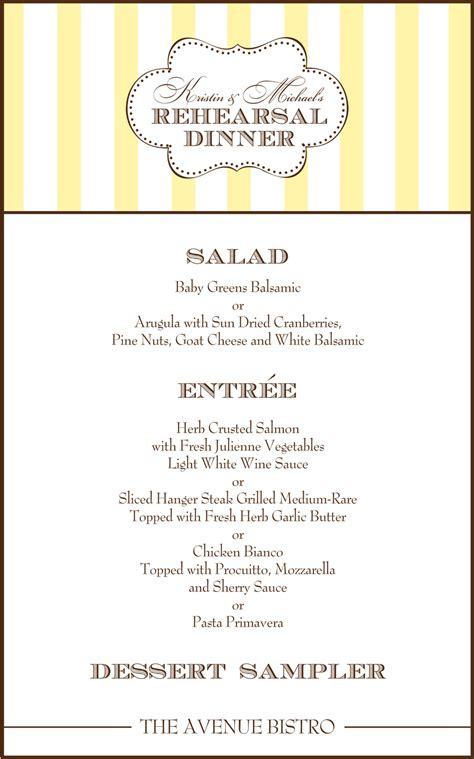 Rehearsal Dinner Menu Template 28 Images Best Wedding Rehearsal Dinner Menu Template Yellow Rehearsal Dinner Menu Template