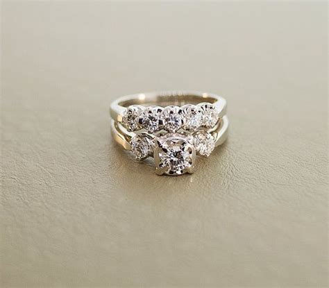 1940 s vintage white gold wedding ring set