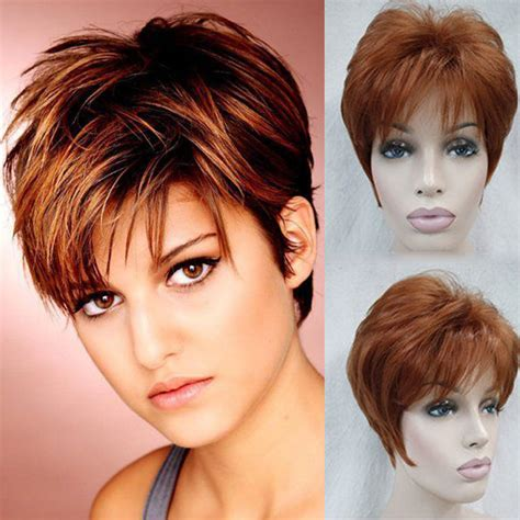 model model create your own unique pixie 19pcs hairstyles reddish wig realistic lace front wig