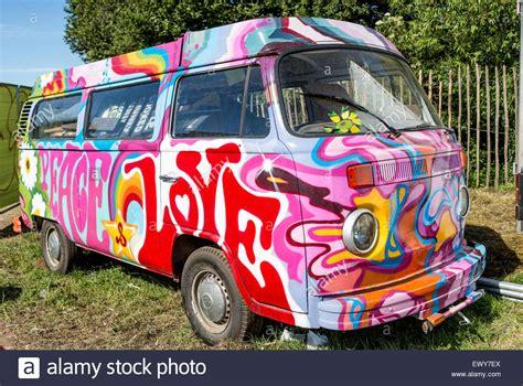 old volkswagen hippie van classic psychedelic painted vw cer van glastonbury