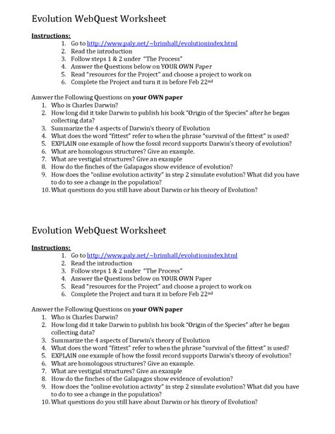 Evidence Of Evolution Worksheet Answers by 28 Evolution Worksheet Answers 12 Best Images Of