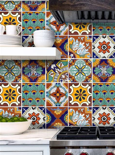 layout artist in spanish tile stickers for kitchen bath or floor waterproof tr008