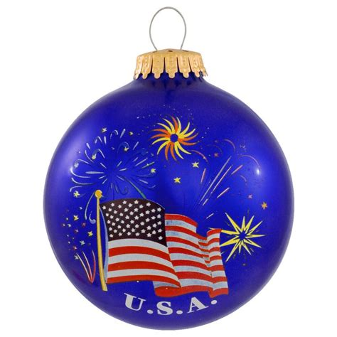 u s a flag and fireworks christmas ornament usa theme