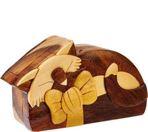 Handcrafted Hardwood Storage Puzzle Box - handcrafted hardwood storage puzzle box with burn