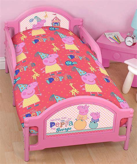 Peppa Pig Bed Set Duvet 4 In 1 Peppa Pig Funfair Junior Cot Bed Bundle Bedding Set Quilt Pillow Ebay