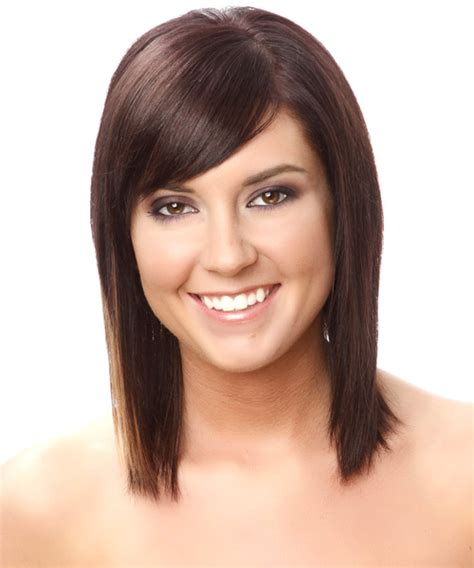 medium haircuts with straight hair and front cowlick medium straight casual hairstyle