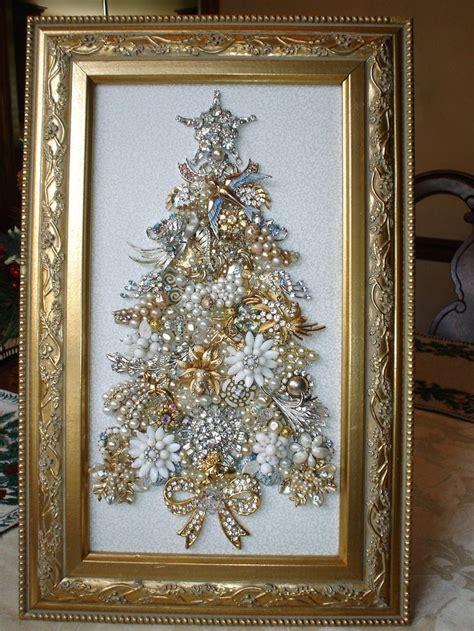 how to make a vintage jewelry tree large vintage rhinestone jewelry framed tree