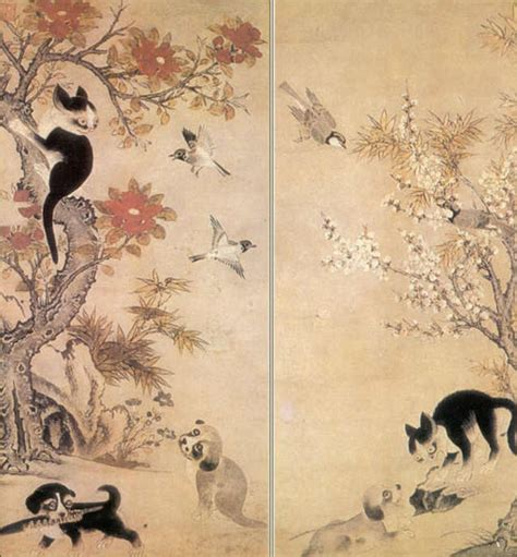 Novel Paint My Korean Story 초하뮤지엄 넷 chohamuseum net 강아지와 고양이 새 꽃 그림 이 암 李巖 1499