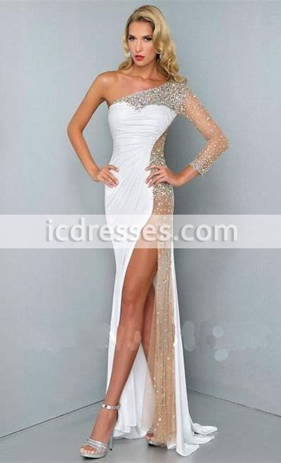 Sexy one shoulder prom gowns formal evening dresses long Crystal dresses party evening wear Side