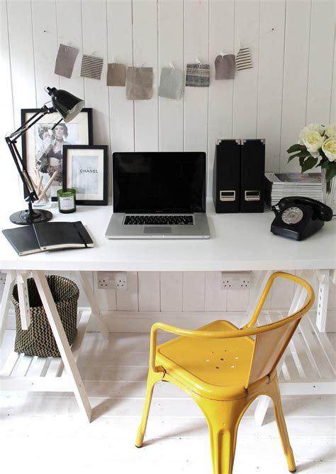 minimalist home office space white black color scheme with
