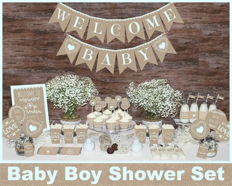 rustic baby shower decorations printable boy baby shower - Rustic Baby Boy Shower