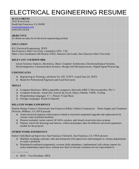 resume sles for freshers electrical engineers free 6 electrical engineering resume templates pdf doc free premium templates