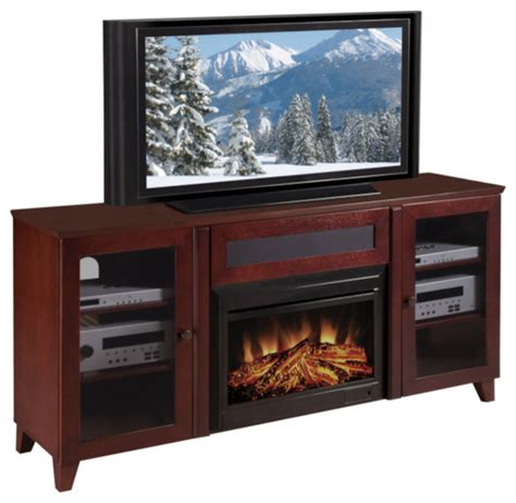 shaker 70 inch cherry tv console and electric