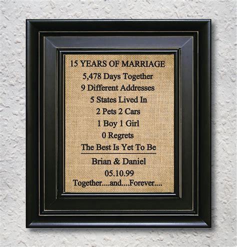 Wedding Anniversary Ideas 15 Years by Burlap Print 15th Anniversary Gift 15 Year Anniversary