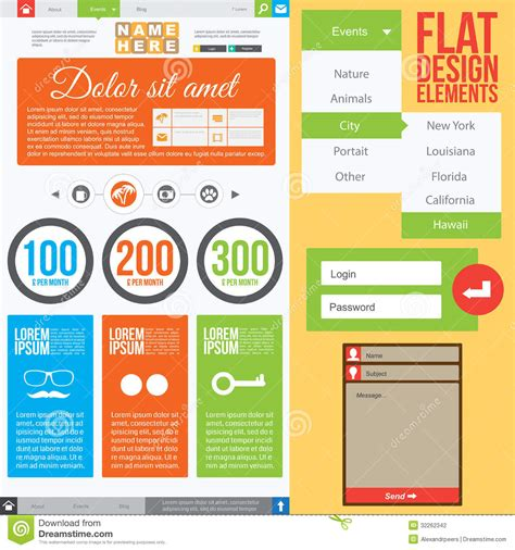 web design layout elements flat web design stock vector image of creative