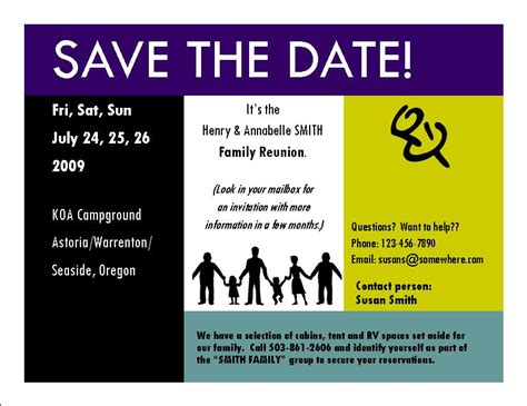 family reunion save the date cards templates a sle invitation for the family reunion
