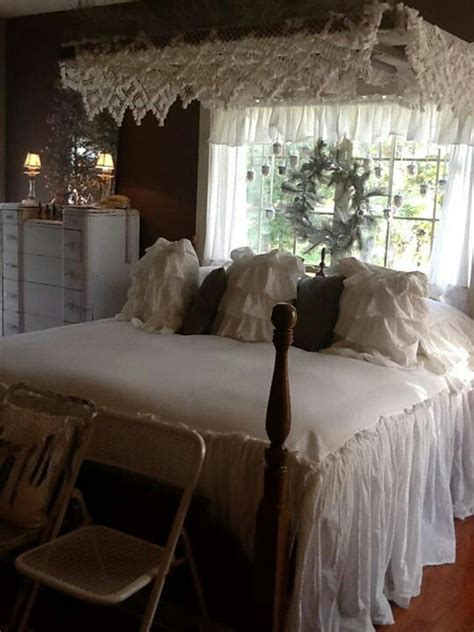 vintage romantic bedrooms vintage bedding canopy and wreath romantic style