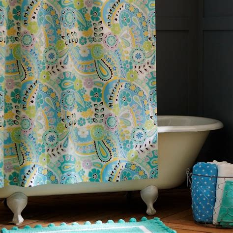 turquoise paisley curtains paisley pop shower curtain everything turquoise