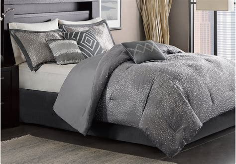 Jaylin Gray 7 Pc Queen Comforter Set Queen Linens Gray Grey Bedding Sets