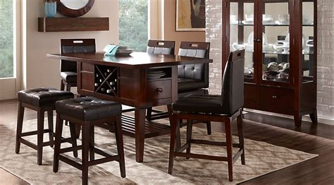 rooms to go dining room julian place chocolate 5 pc counter height dining room