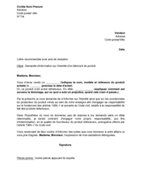 Lettre De Demande D Information Sur Un Dossier Exemple Gratuit De Lettre Demande Information Sur Identit 233