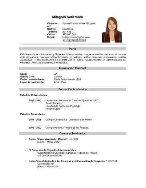 Modelo Curriculum Joven Experiencia curriculum vitae curriculum vitae experiencia laboral