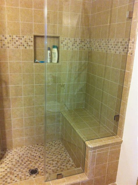 tiled shower with bench custom tile shower with bench seat yelp
