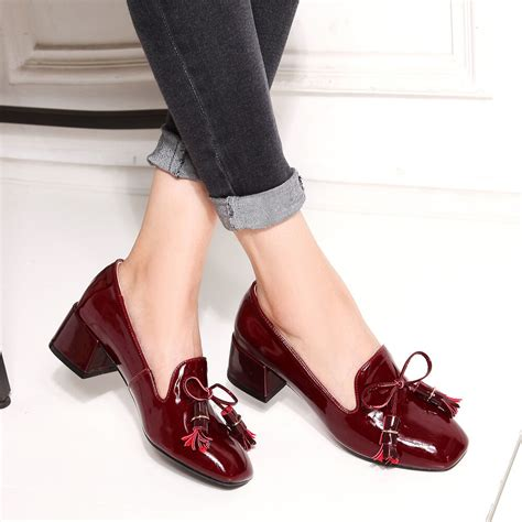 dress boat shoes vintage womens patent square toe leather bowknot tassel