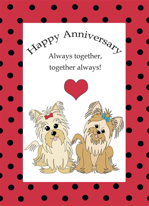 free printable anniversary paper cards sweet printable anniversary card exle with a puppies