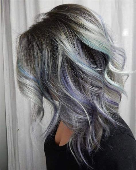 black lowlights in white gray hair 21 grey hair with black lowlights and purple and turquoise