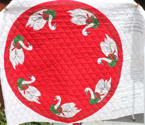 christmas fabric tree skirt table cloth quilted fabric white