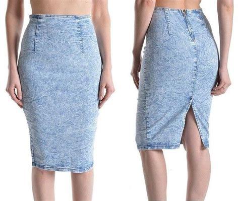 light blue pencil skirt plus size light blue acid wash high waist stretch pencil