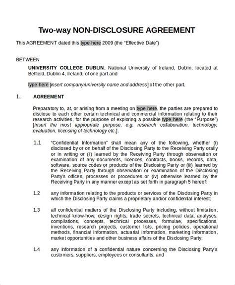 disclosure agreement templates  sample  format  premium templates