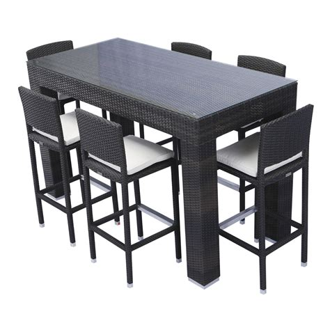 Patio Table Height Source Outdoor Bar Height Patio Dining Set Seats 6 Hayneedle Within Bar Height Rectangular