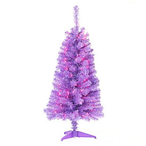 view 4 pre lit artificial christmas tree purple tinsel